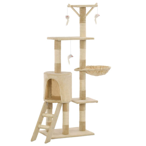 Image of Beige Cat Tree with Sisal Scratching Posts 138 cm Everyday Pets