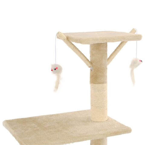 Image of Beige Cat Tree with Sisal Scratching Posts 138 cm with 3 Mouse Toys Everyday Pets