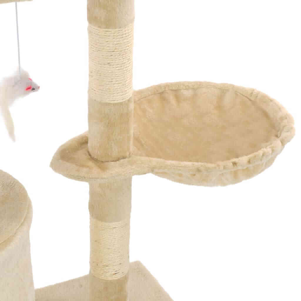 Beige Cat Tree with Sisal Scratching Posts 138 cm Cosy Resting Place  Everyday Pets