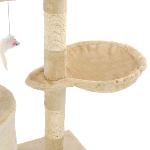 Image of Beige Cat Tree with Sisal Scratching Posts 138 cm Cosy Resting Place  Everyday Pets