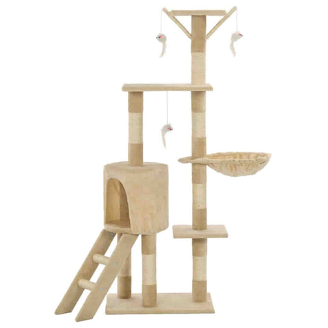 Image of Beige Cat Tree with Sisal Scratching Posts 138 cm Indoor Cat Condo Everyday Pets