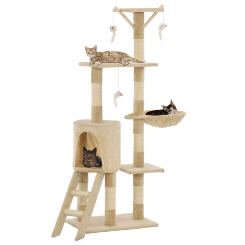 Image of Beige Cat Tree with Sisal Scratching Posts 138 cm High Quality Cat Fun Play Centre Everyday Pets