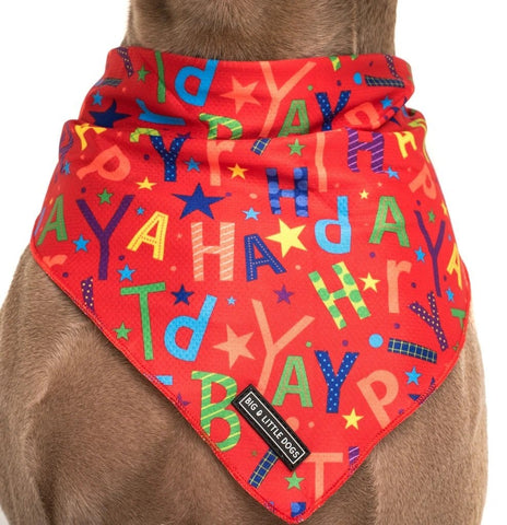 Image of Big-and-Little-Dogs-Cooling-Neckerchief-Bandana-Red-Birthday-Close-Up