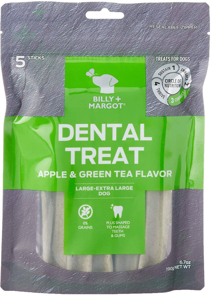 Billy + Margot (Grain Free) Dental Sticks Apple & Green Tea Large Pk 5