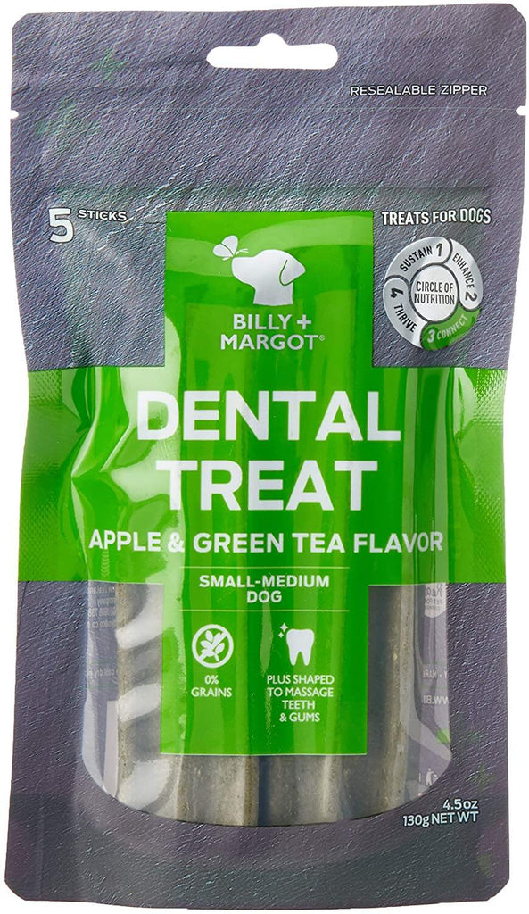 Billy + Margot (Grain Free) Dental Sticks Apple & Green Tea Small Pk 5