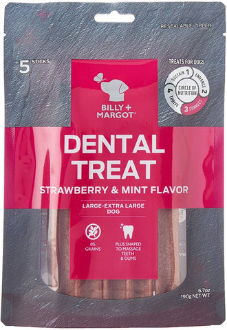 Image of Billy + Margot (Grain Free) Dental Sticks Strawberry & Mint