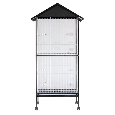 Image of Bird Cage - Large Stand-Alone with Apex Roof & Wheels - 185cm Tall Back View