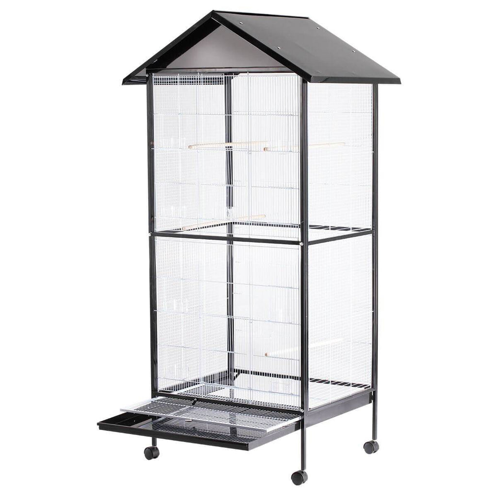 Bird Cage - Large Stand-Alone with Apex Roof & Wheels - 185cm Tall