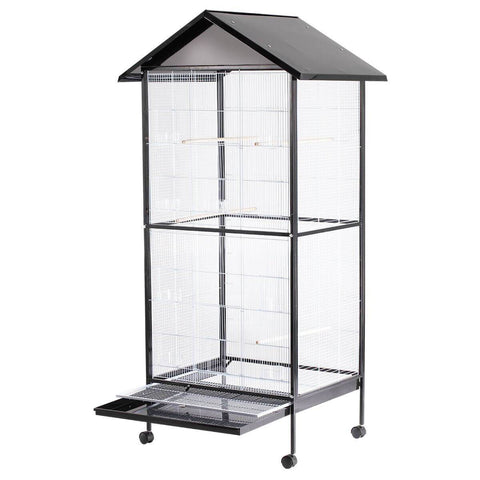 Image of Bird Cage - Large Stand-Alone with Apex Roof & Wheels - 185cm Tall