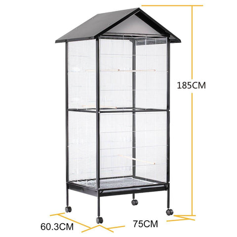 Image of Bird Cage - Large Stand-Alone with Apex Roof & Wheels - 185cm Tall Product Dimension