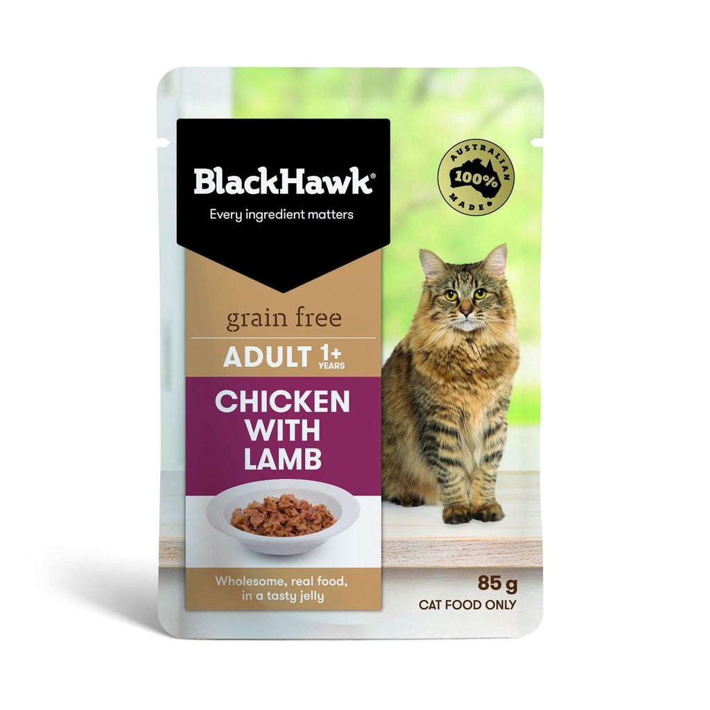 Black Hawk Cat Grain Free Wet Food Pouches Chicken with Lamb Jelly 12 x 85g