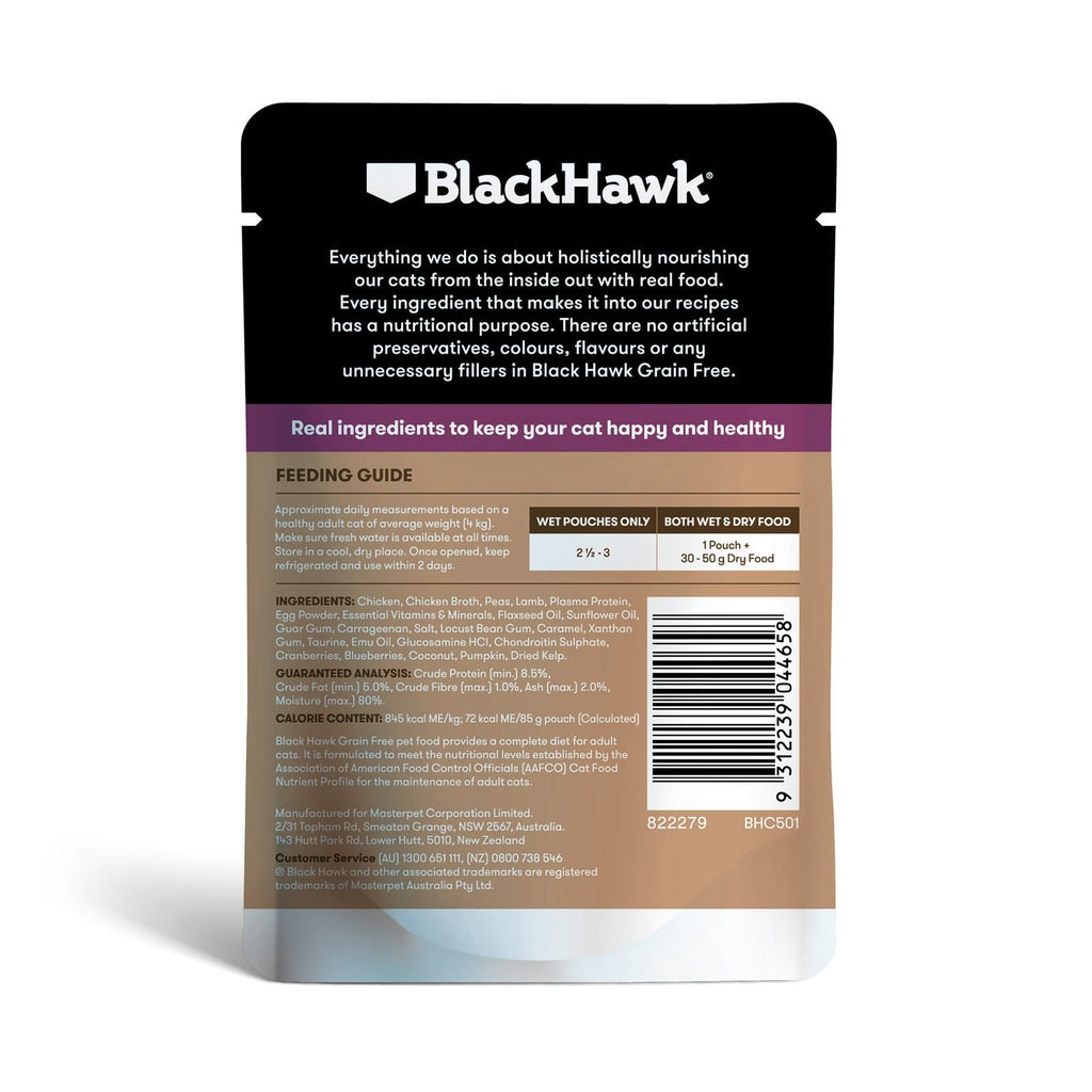 Black Hawk Cat Grain Free Wet Food Pouches Chicken with Lamb Jelly 12 x 85g Back
