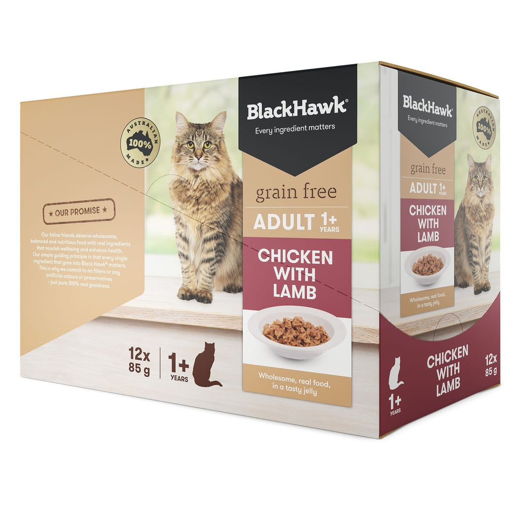 Black Hawk Cat Grain Free Wet Food Pouches Chicken with Lamb Jelly 12 x 85g Pack