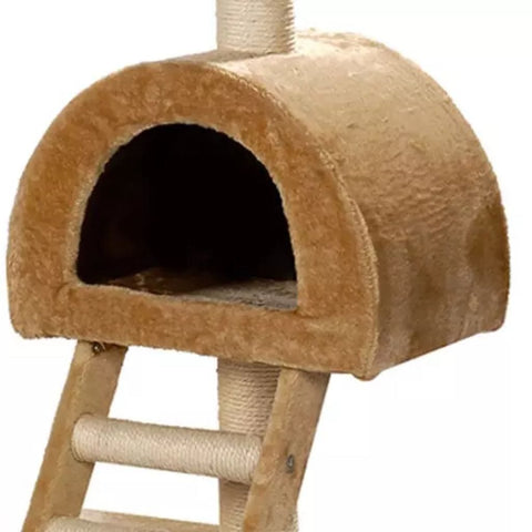 Image of Cat-Tree-105-cm-Beige-2-Scratching-Posts-Cat-Cave