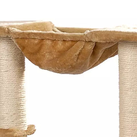 Image of Cat-Tree-105-cm-Beige-2-Scratching-Posts-Hammock-and-Platform