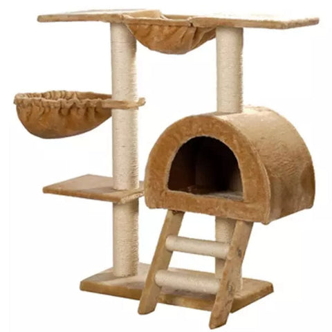 Image of Cat-Tree-105-cm-Beige-2-Scratching-Posts-Sisal-Cover