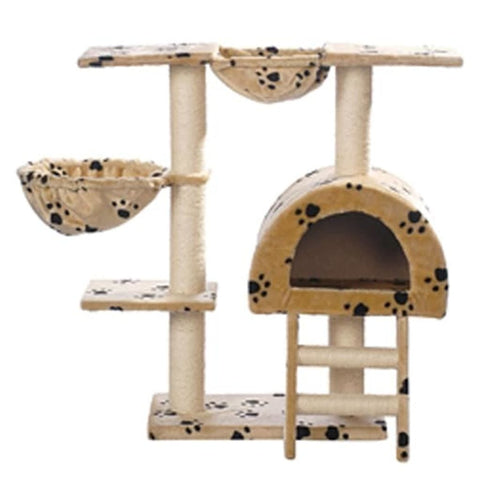 Image of Cat-Tree-105-cm-Beige-with-Paw-Prints-2-Scratching-Posts-Front-View