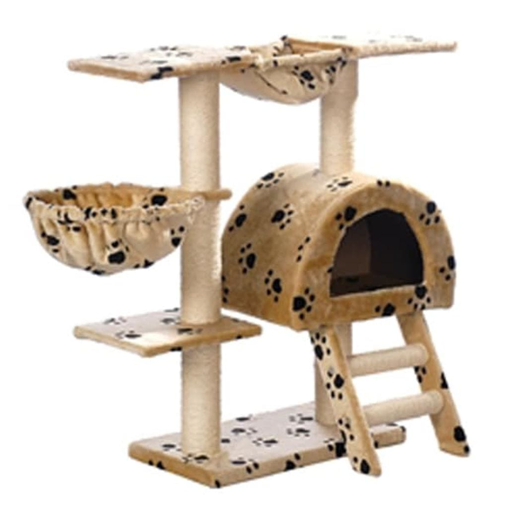 Cat-Tree-105-cm-Beige-with-Paw-Prints-2-Scratching-Posts-Side-View