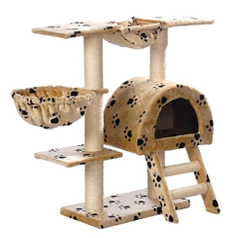 Image of Cat-Tree-105-cm-Beige-with-Paw-Prints-2-Scratching-Posts-Side-View