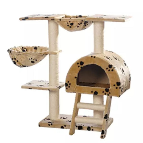 Image of Cat-Tree-105-cm-Beige-with-Paw-Prints-2-Scratching-Posts-Sisal-Cover