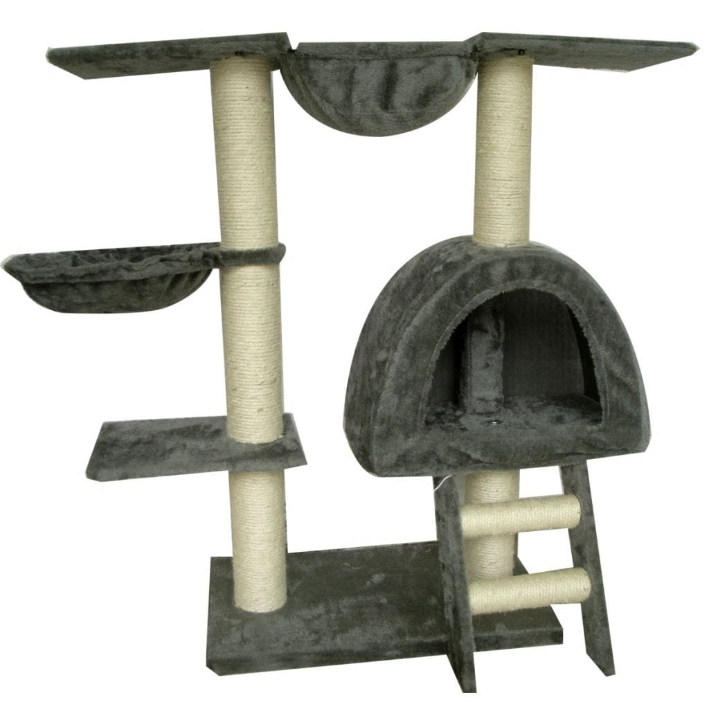 Cat-Tree-105-cm-Grey-2-Scratching-Posts-Front-View