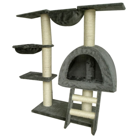 Image of Cat-Tree-105-cm-Grey-2-Scratching-Posts-Side-View