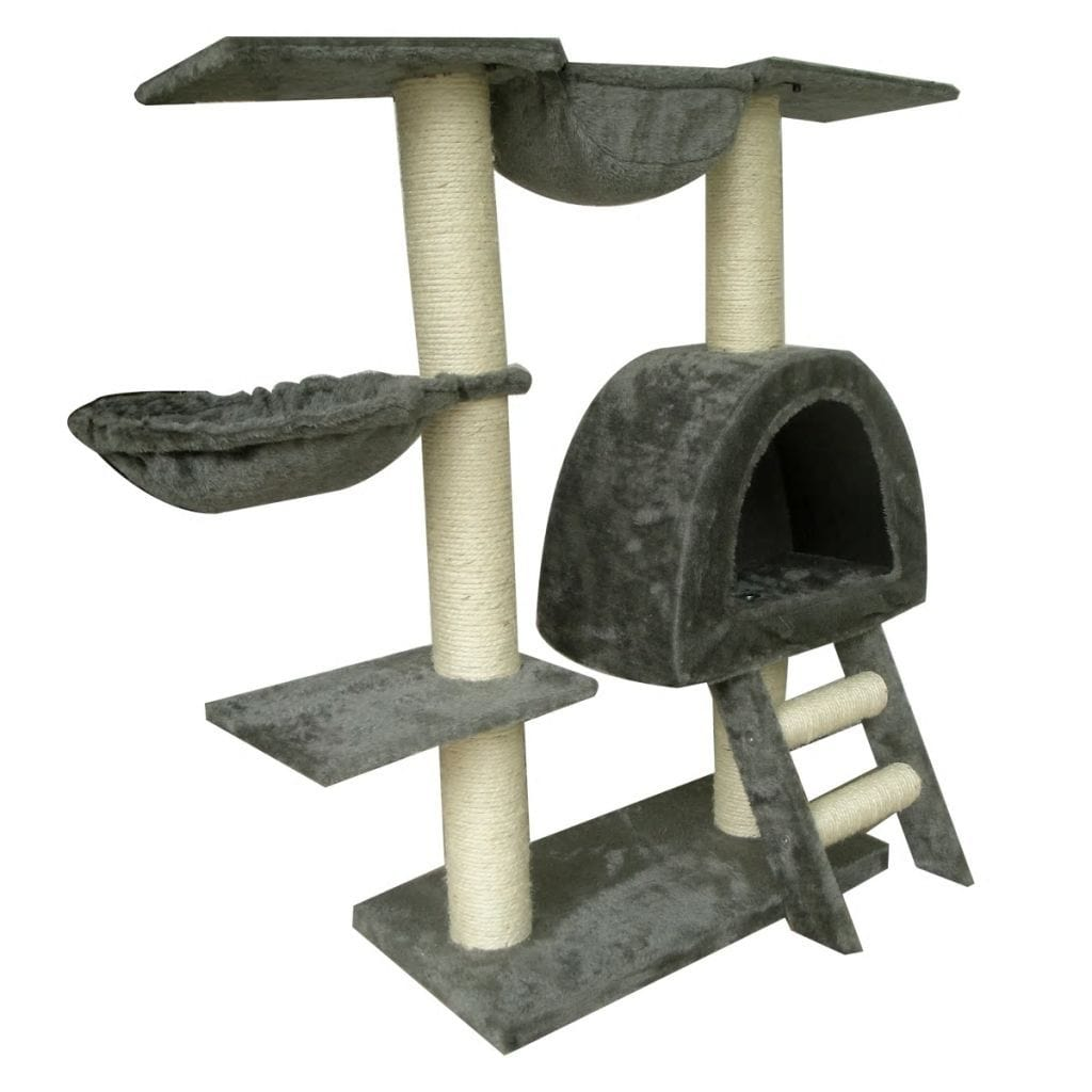 Cat-Tree-105-cm-Grey-2-Scratching-Posts-Sisal-Cover