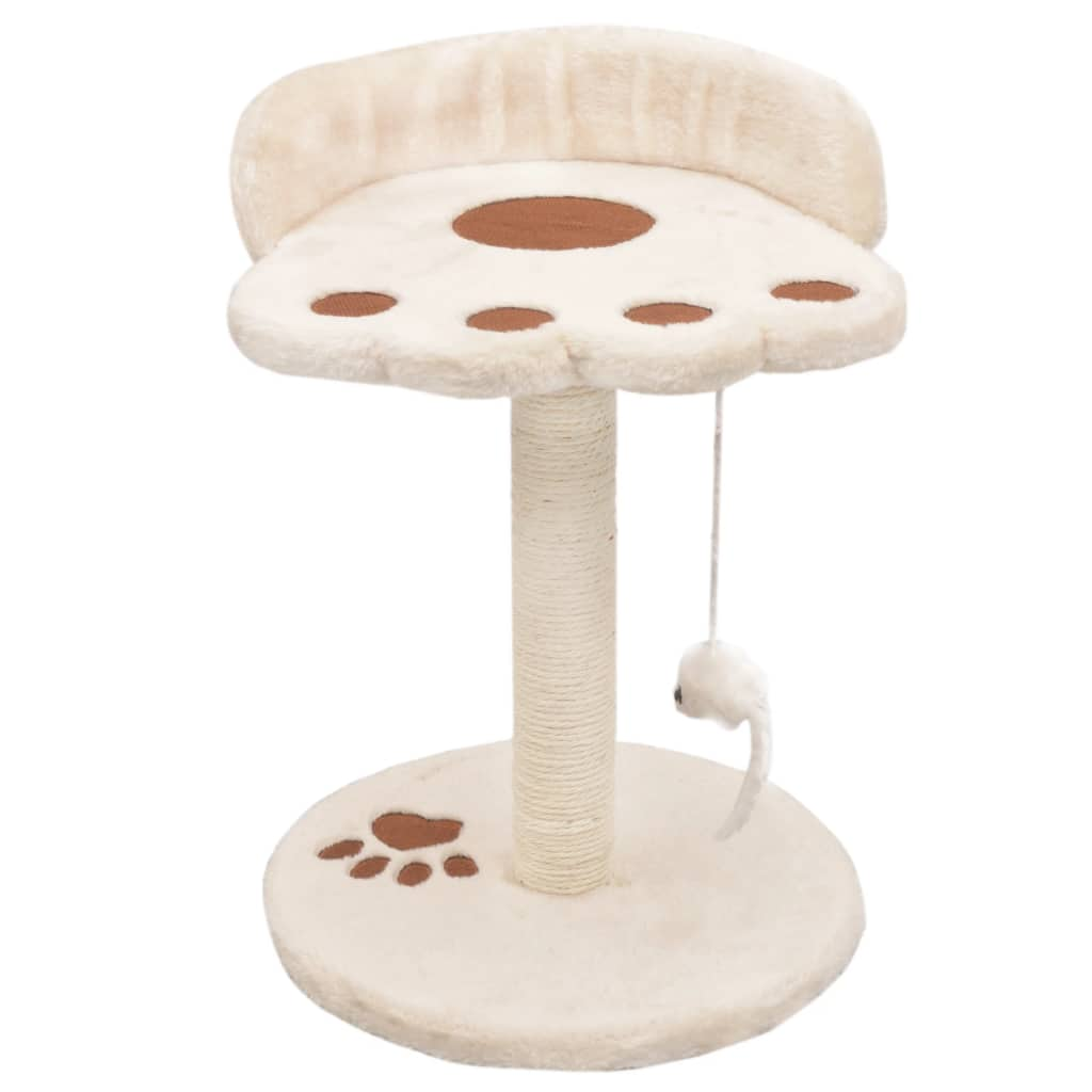 Cat-Tree-with-Sisal-Scratching-Post-40-cm-Beige-and-Brown-Front-View
