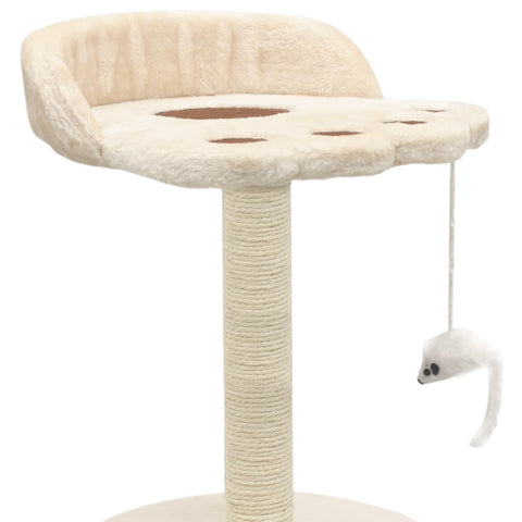 Image of Cat-Tree-with-Sisal-Scratching-Post-40-cm-Beige-and-Brown-Hanging-Mouse-Toy