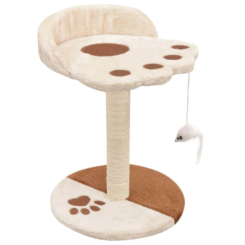 Image of Cat-Tree-with-Sisal-Scratching-Post-40-cm-Beige-and-Brown-Sturdy-Stable-Base