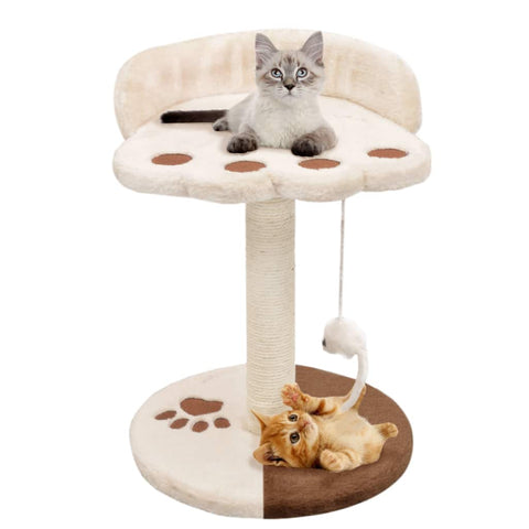 Image of Cat-Tree-with-Sisal-Scratching-Post-40-cm-Beige-and-Brown-with-Cats
