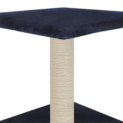 Image of Cat-Tree-with-Sisal-Scratching-Post-55-cm-Dark-Blue-Platform-Sisal-Post