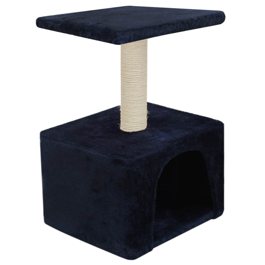 Cat-Tree-with-Sisal-Scratching-Post-55-cm-Dark-Blue-Side-View