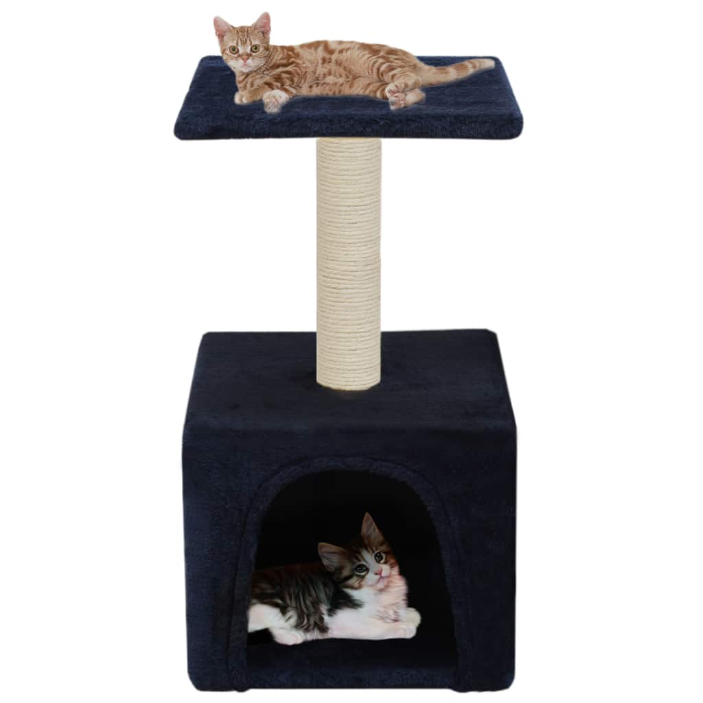 Cat-Tree-with-Sisal-Scratching-Post-55-cm-Dark-Blue-with-Cats