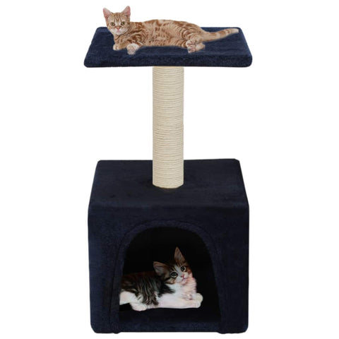 Image of Cat-Tree-with-Sisal-Scratching-Post-55-cm-Dark-Blue-with-Cats