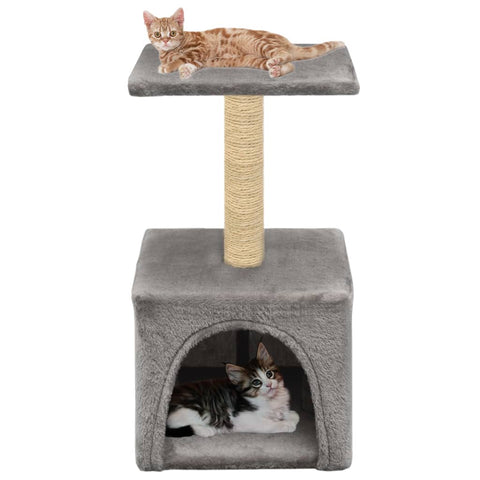 Image of Cat-Tree-with-Sisal-Scratching-Post-55-cm-Grey-with-Cats