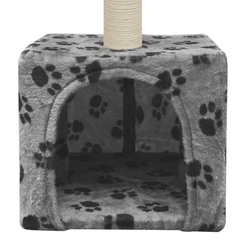 Image of Cat-Tree-with-Sisal-Scratching-Post-55-cm-Grey-with-Paw-Print-Cat-Cave