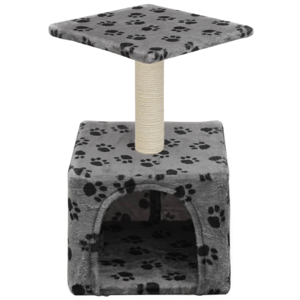 Cat-Tree-with-Sisal-Scratching-Post-55-cm-Grey-with-Paw-Print-Front-View