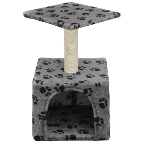 Image of Cat-Tree-with-Sisal-Scratching-Post-55-cm-Grey-with-Paw-Print-Front-View