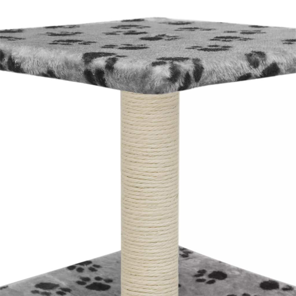 Cat-Tree-with-Sisal-Scratching-Post-55-cm-Grey-with-Paw-Print-Platform-Sisal-Post