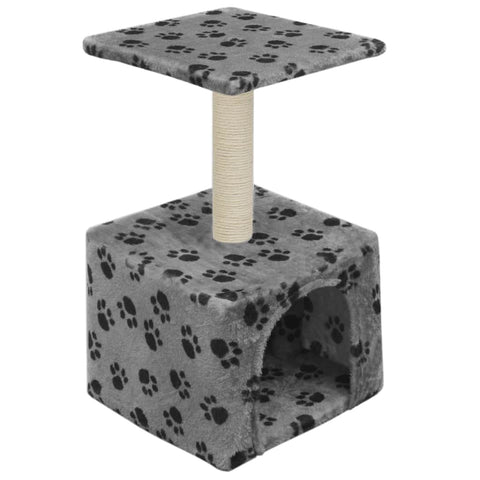 Image of Cat-Tree-with-Sisal-Scratching-Post-55-cm-Grey-with-Paw-Print-Side-View