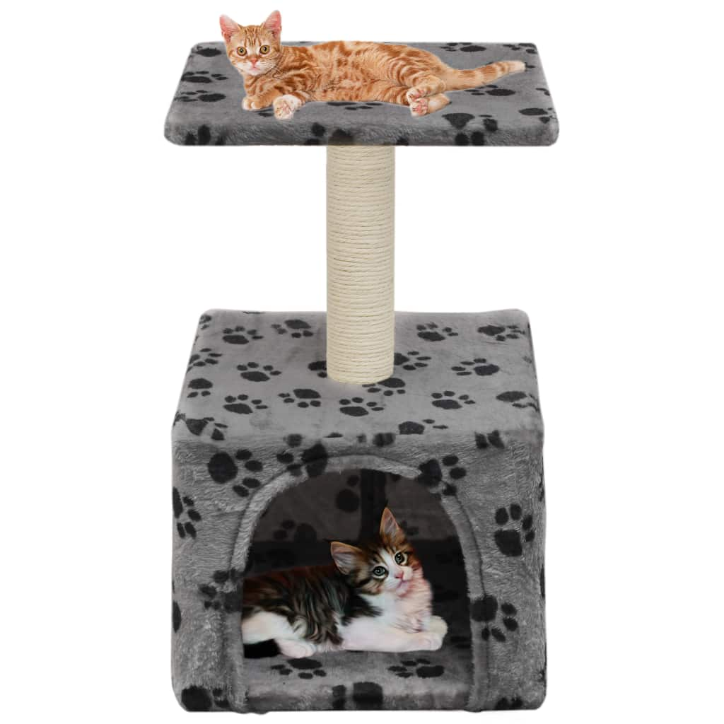 Cat-Tree-with-Sisal-Scratching-Post-55-cm-Grey-with-Paw-Print-with-Cats