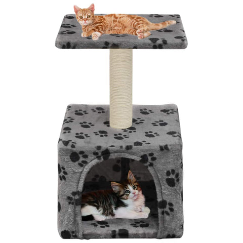 Image of Cat-Tree-with-Sisal-Scratching-Post-55-cm-Grey-with-Paw-Print-with-Cats