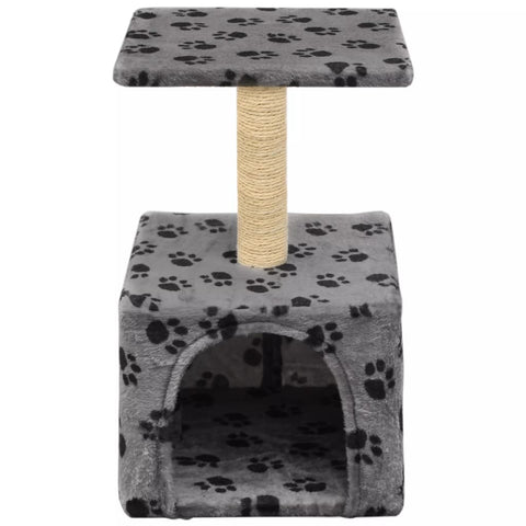 Image of Cat-Tree-with-Sisal-Scratching-Post-55-cm-Grey-with-Paw-Print