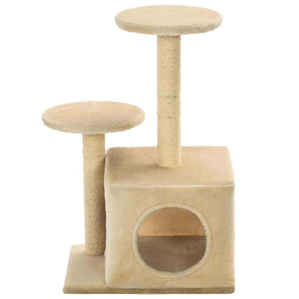 Cat-Tree-with-Sisal-Scratching-Posts-60-cm-Beige-Front-View
