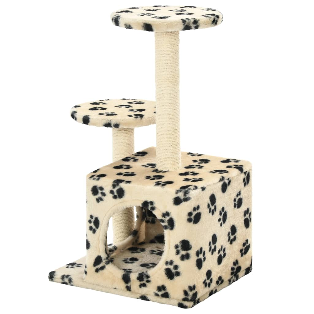 Cat-Tree-with-Sisal-Scratching-Posts-60-cm-Beige-Paw-Prints-Back-View