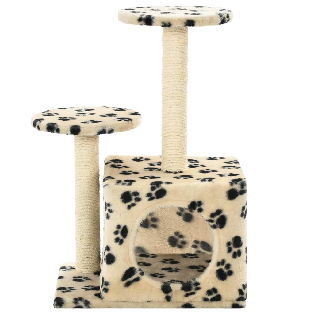 Cat-Tree-with-Sisal-Scratching-Posts-60-cm-Beige-Paw-Prints-Front-View