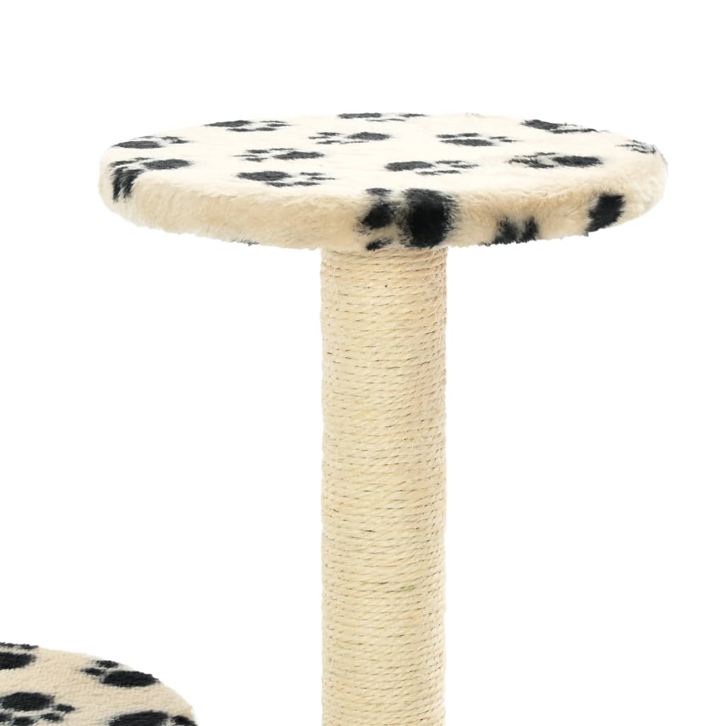 Cat-Tree-with-Sisal-Scratching-Posts-60-cm-Beige-Paw-Prints-Platform