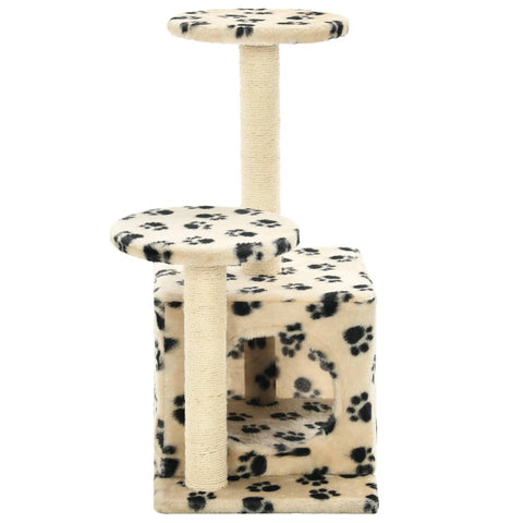 Image of Cat-Tree-with-Sisal-Scratching-Posts-60-cm-Beige-Paw-Prints-Sisal-Pole-Cover