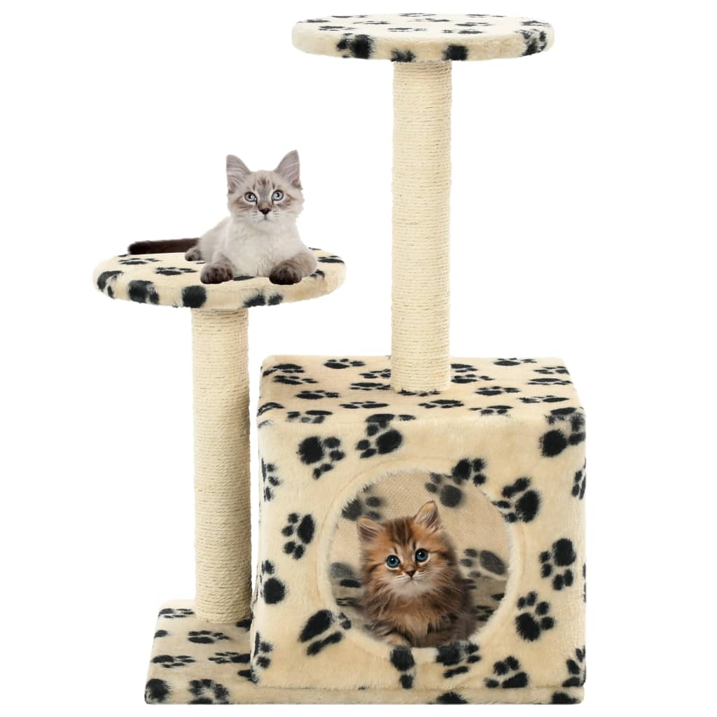Cat-Tree-with-Sisal-Scratching-Posts-60-cm-Beige-Paw-Prints-with-Cats